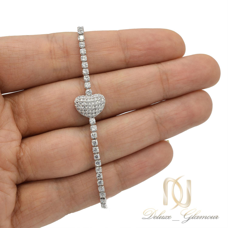 دستبند دخترانه استیل طرح قلب ds-n401 از نمای روی دست