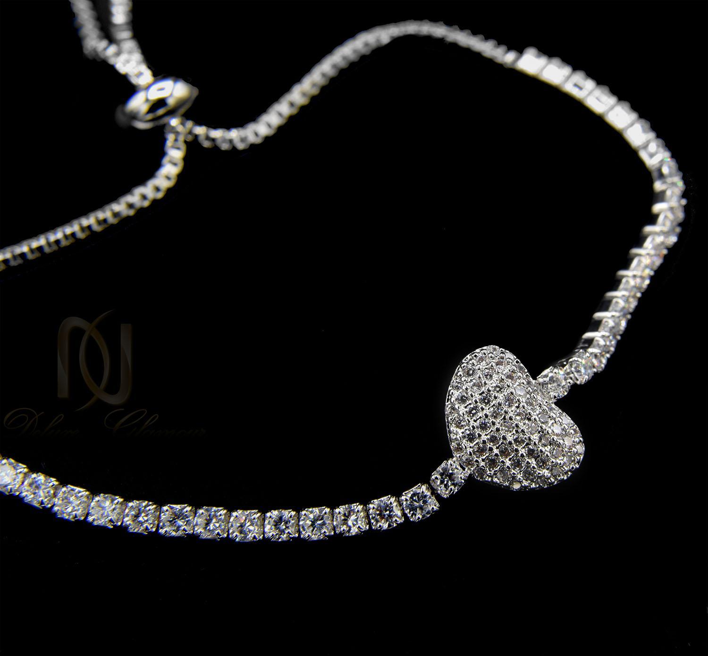 دستبند دخترانه استیل طرح قلب ds-n401 از نمای مشکی