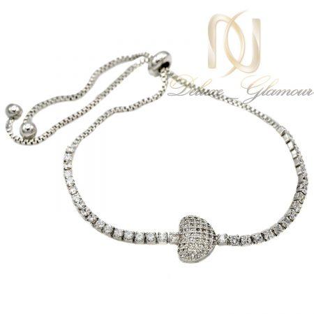 دستبند دخترانه استیل طرح قلب ds-n401 از نمای سفید