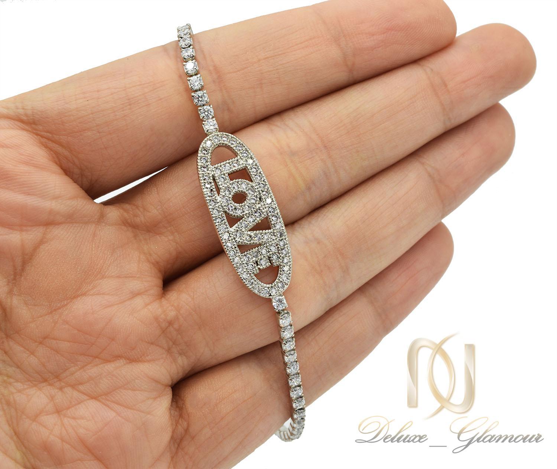 دستبند دخترانه استیل مارشالی طرح لاو ds-n397 از نمای روی دست