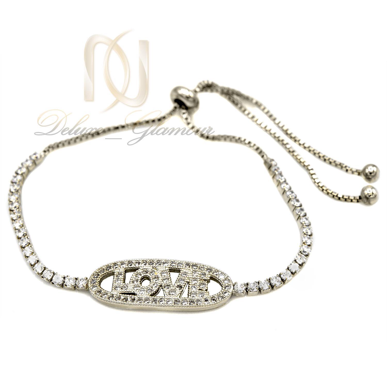 دستبند دخترانه استیل مارشالی طرح لاو ds-n397 از نمای روبرو