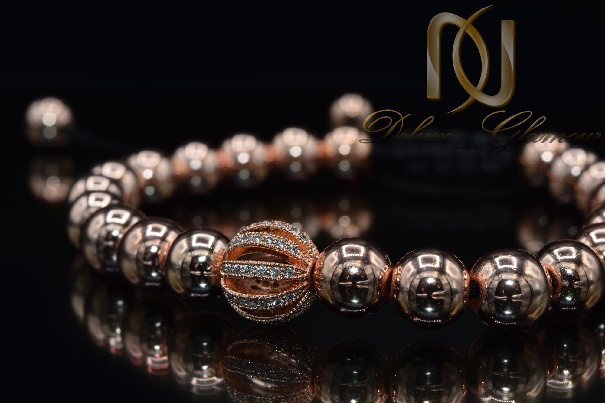 دستبند دخترانه اسپرت سنگ حدید za-n113 از نمای مشکی