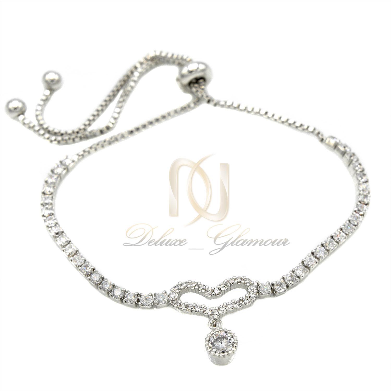 دستبند دخترانه ظریف استیل مارشالی ds-n398 از نمای سفید