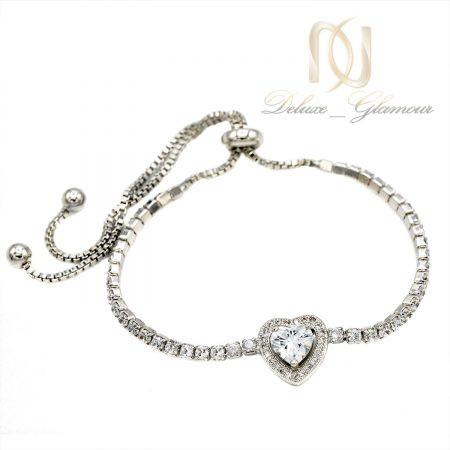 دستبند دخترانه ظریف مارشالی پر نگین ds-n402 از نمای سفید