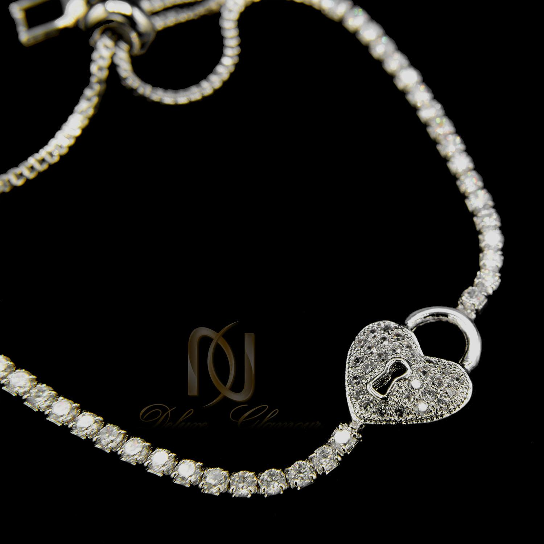 دستبند دخترانه فانتزی استیل طرح قفل و قلب ds-n403