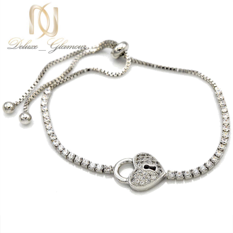دستبند دخترانه فانتزی استیل طرح قفل و قلب ds-n403 از نمای سفید