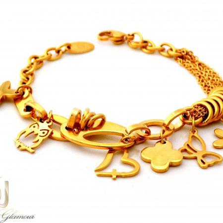 دستبند زنانه استیل آویزدار طرح طلا ds-n395 از نمای سفید