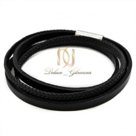 دستبند مردانه چرمی چهار ردیفه ds-n391 از نمای سفید