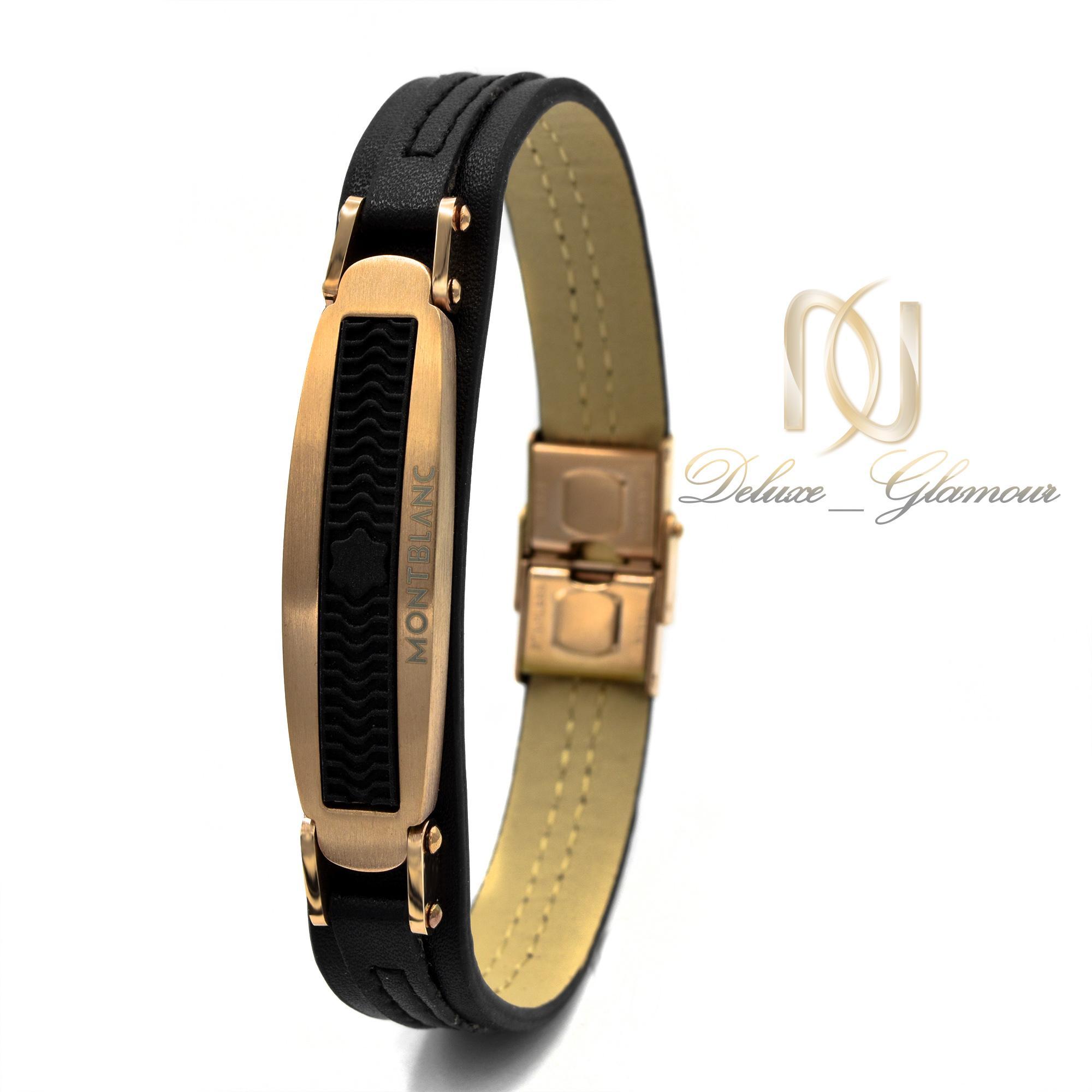 دستبند مردانه چرم تک ردیفه مونت بلانک ds-n385 از نمای سفید