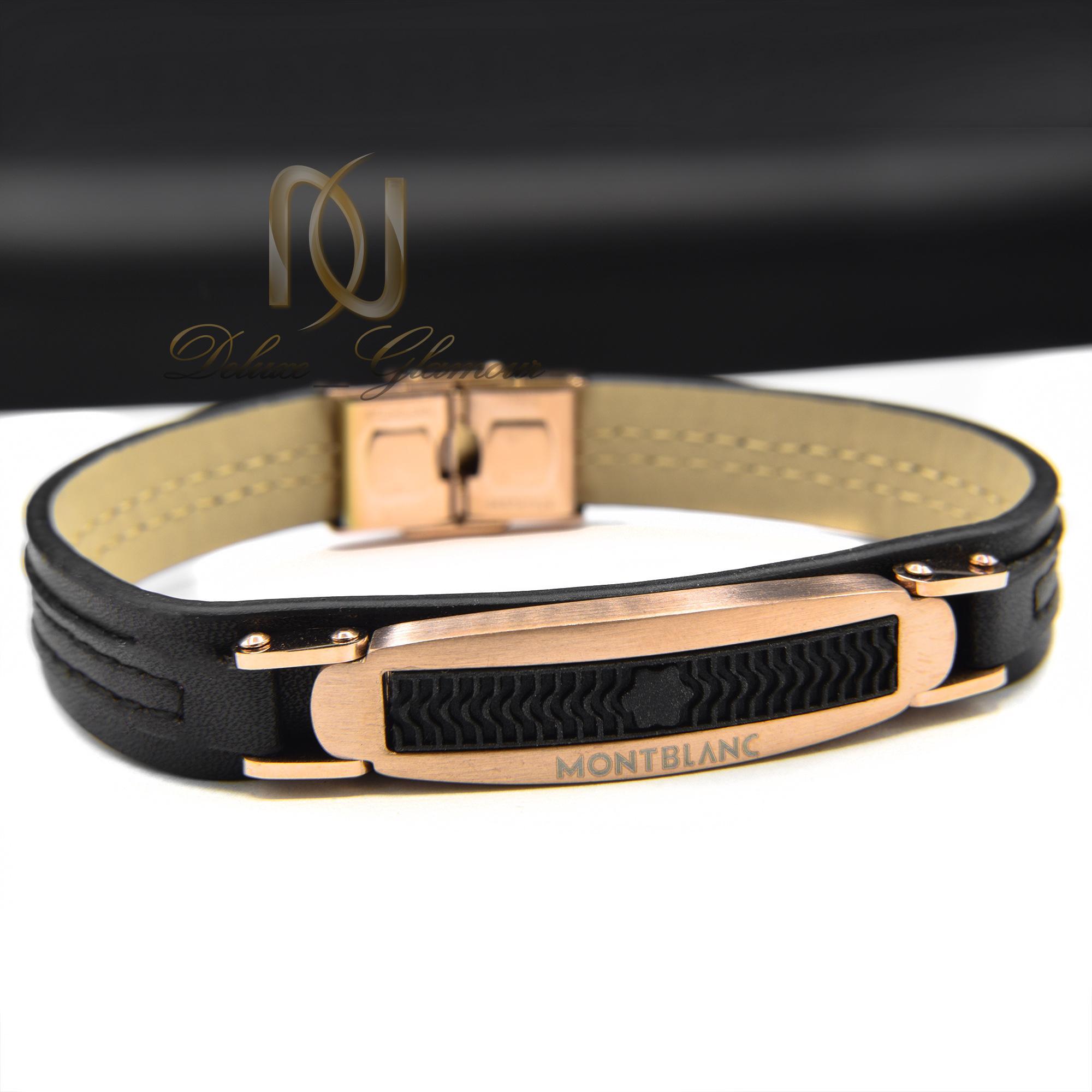 دستبند مردانه چرم تک ردیفه مونت بلانک ds-n385 از نمای روبرو