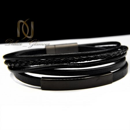 دستبند مردانه چرم شیک پنج ردیفه ds-n392 از نمای روبرو