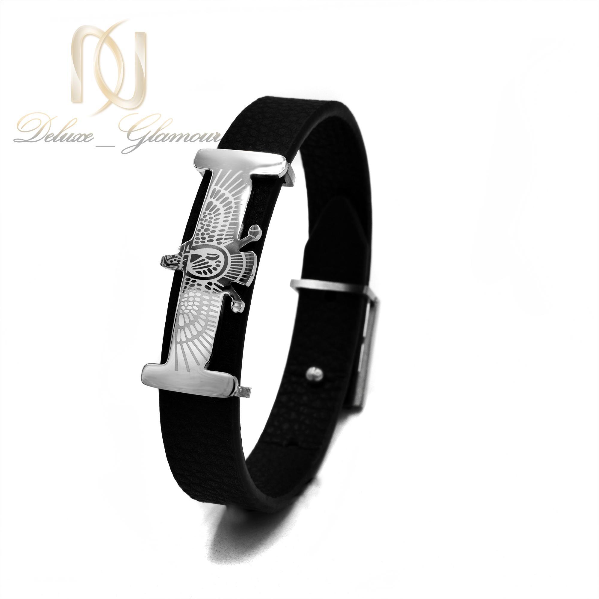 دستبند مردانه چرم طرح فروهر ds-n387 از نمای روبرو