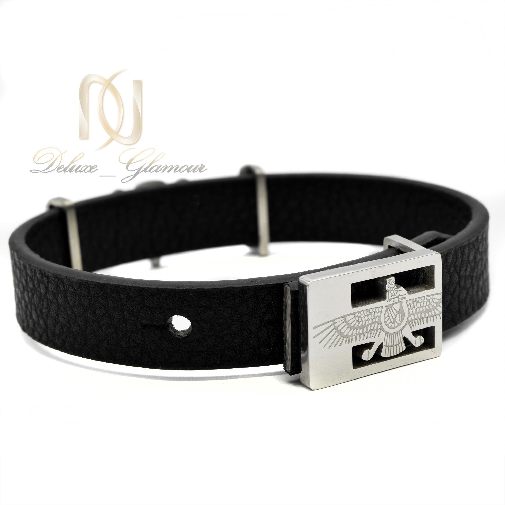 دستبند مردانه چرم طرح فروهر ds-n387 از نمای پشت