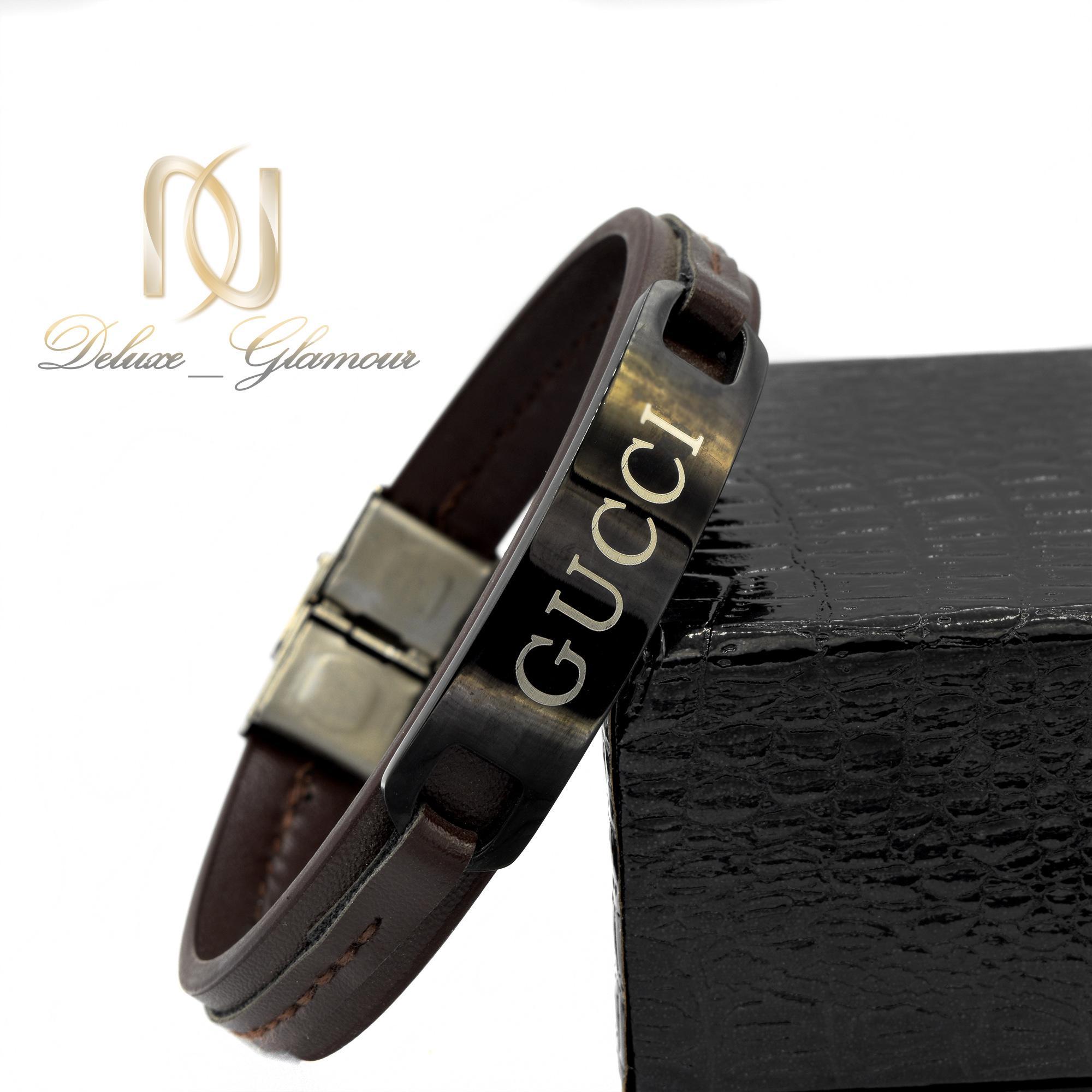 دستبند چرم مردانه طرح گوچی ds-n390 از نمای دور