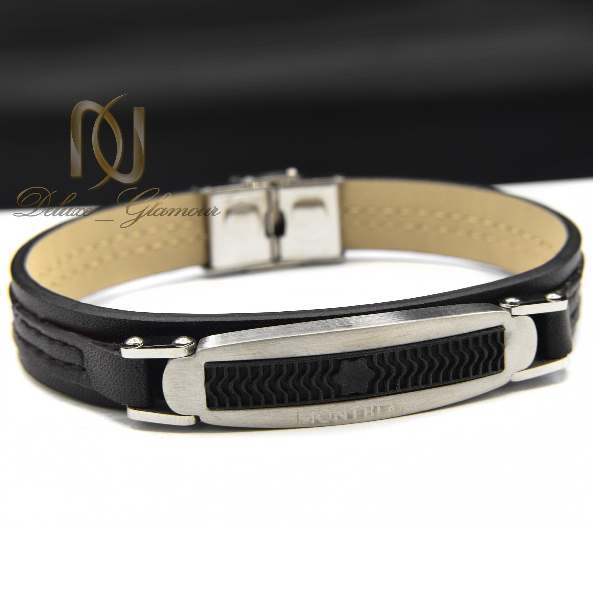 دستبند چرم پسرانه طرح مونت بلانک ds-n388 از نمای روبرو
