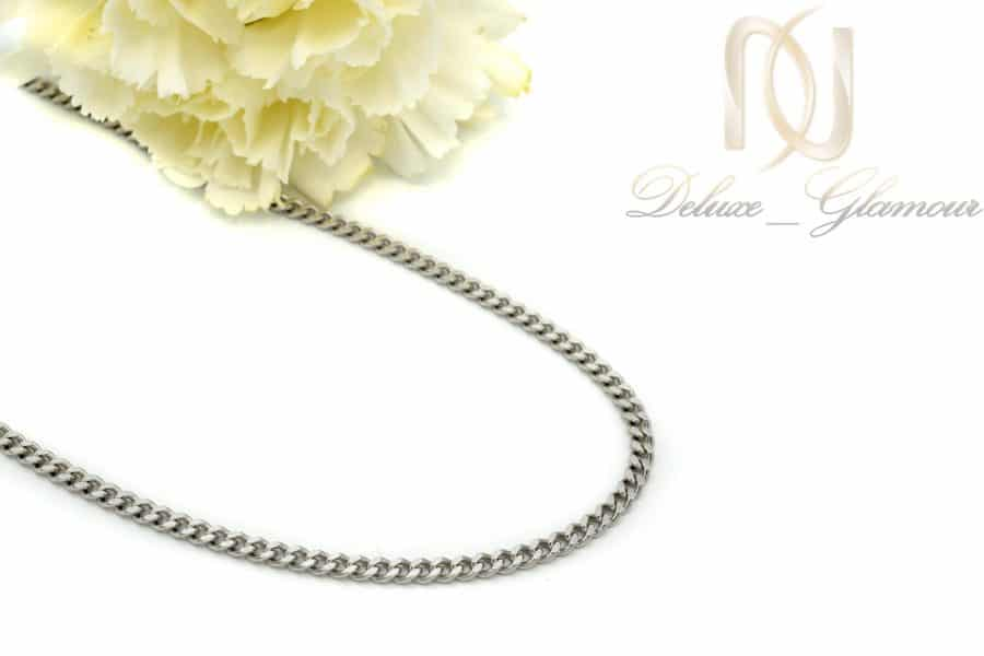 زنجیر مردانه نقره طرح کابلی 50 سانتی NW-N439 از نمای کنار