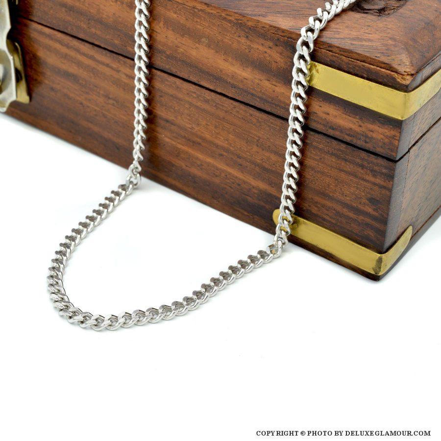 زنجیر مردانه نقره طرح کابلی 50 سانتی NW-N439 از نمای دور