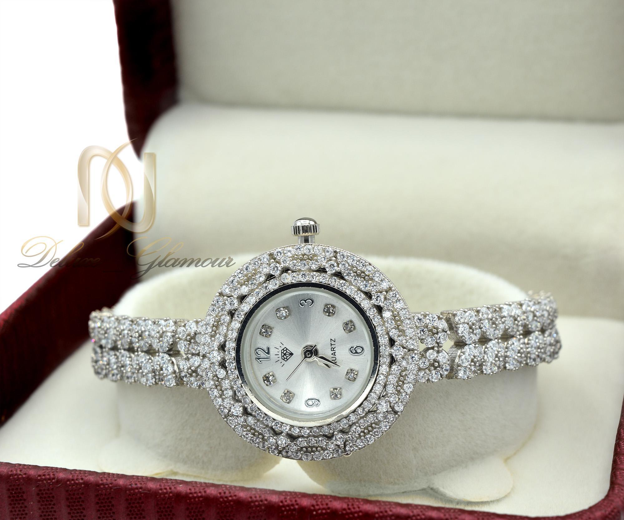 ساعت نقره زنانه جواهری صفحه گرد WH-N135 از نمای روبرو