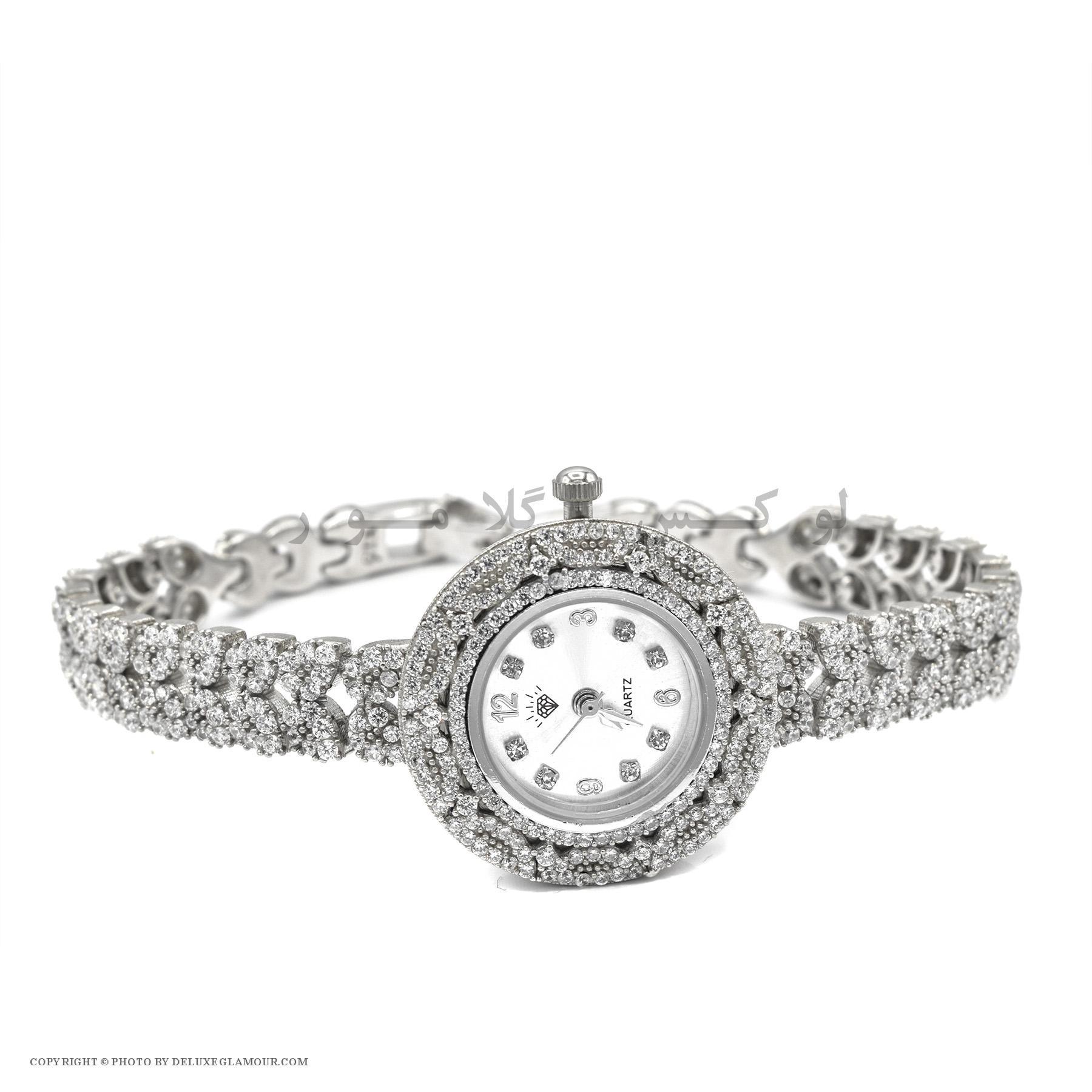ساعت نقره زنانه جواهری صفحه گرد WH-N135 از نمای سفید