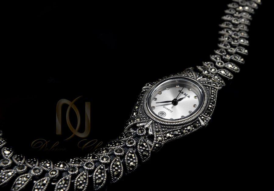 ساعت نقره زنانه سیاه قلم موتور گلد WH-N136 از نمای مشکی