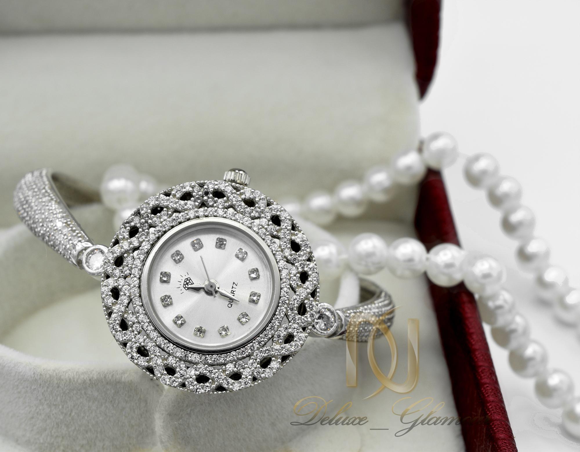 ساعت نقره زنانه طرح جواهری شیک wh-n134 از نمای روبرو