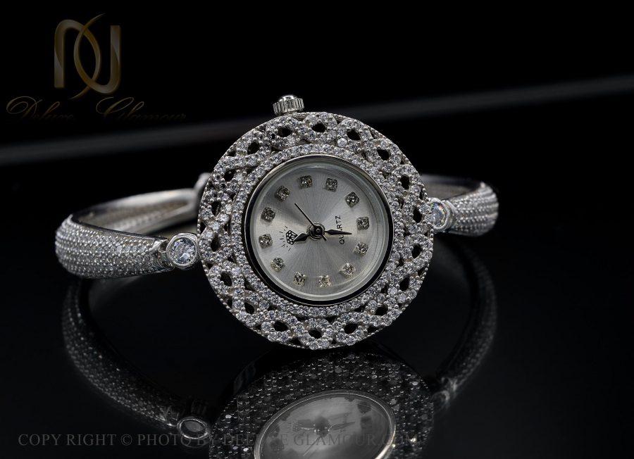 ساعت نقره زنانه طرح جواهری شیک wh-n134 از نمای مشکی