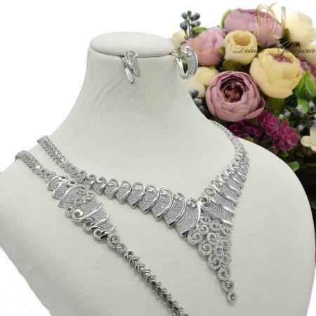 سرویس نقره عروس نگین دار جواهری ns-n434 از نمای روبرو