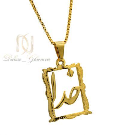 گردنبند اسپرت استیل طلایی طرح خدا nw-n459 از نمای روبرو