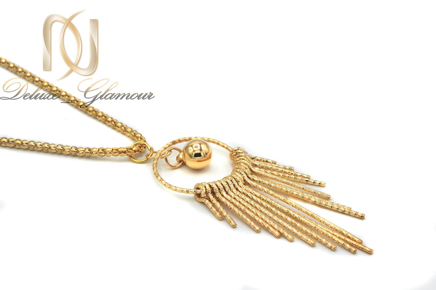 گردنبند رومانتویی بلند طرح طلا nw-n443 از نماي كنار