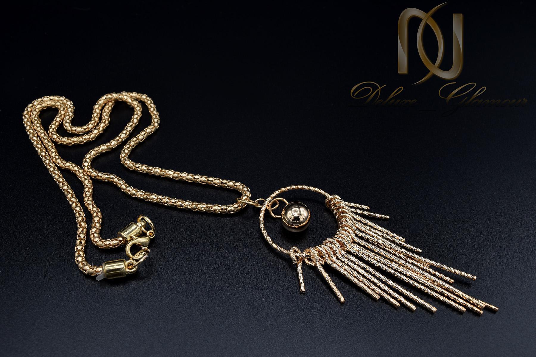 گردنبند رومانتویی بلند طرح طلا nw-n443 از نماي مشكي