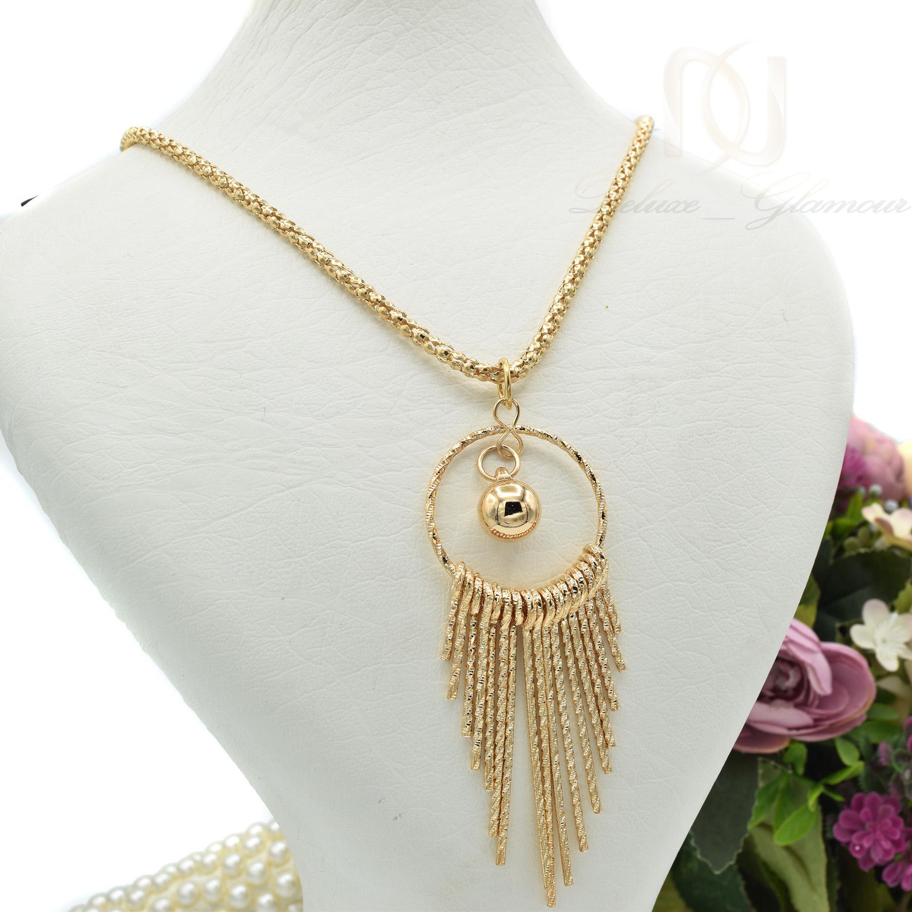 گردنبند رومانتویی بلند طرح طلا nw-n443 از نماي روبرو