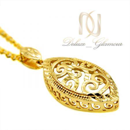 گردنبند زنانه برنجی طرح توری طلایی nw-n462