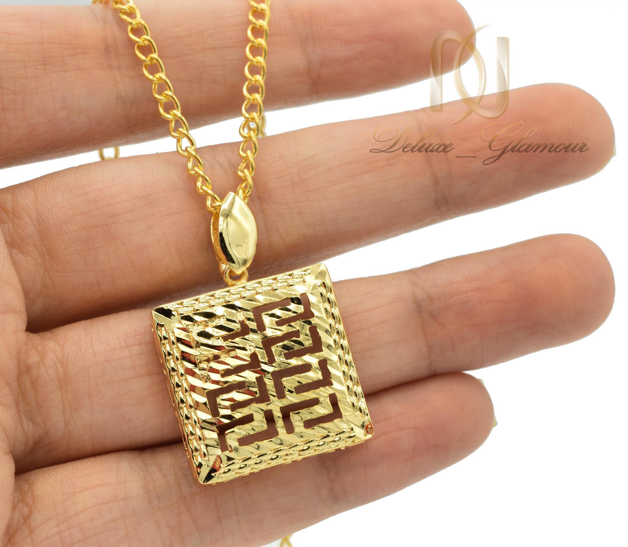 گردنبند زنانه برنجی مربعی طرح ورساچه nw-n460