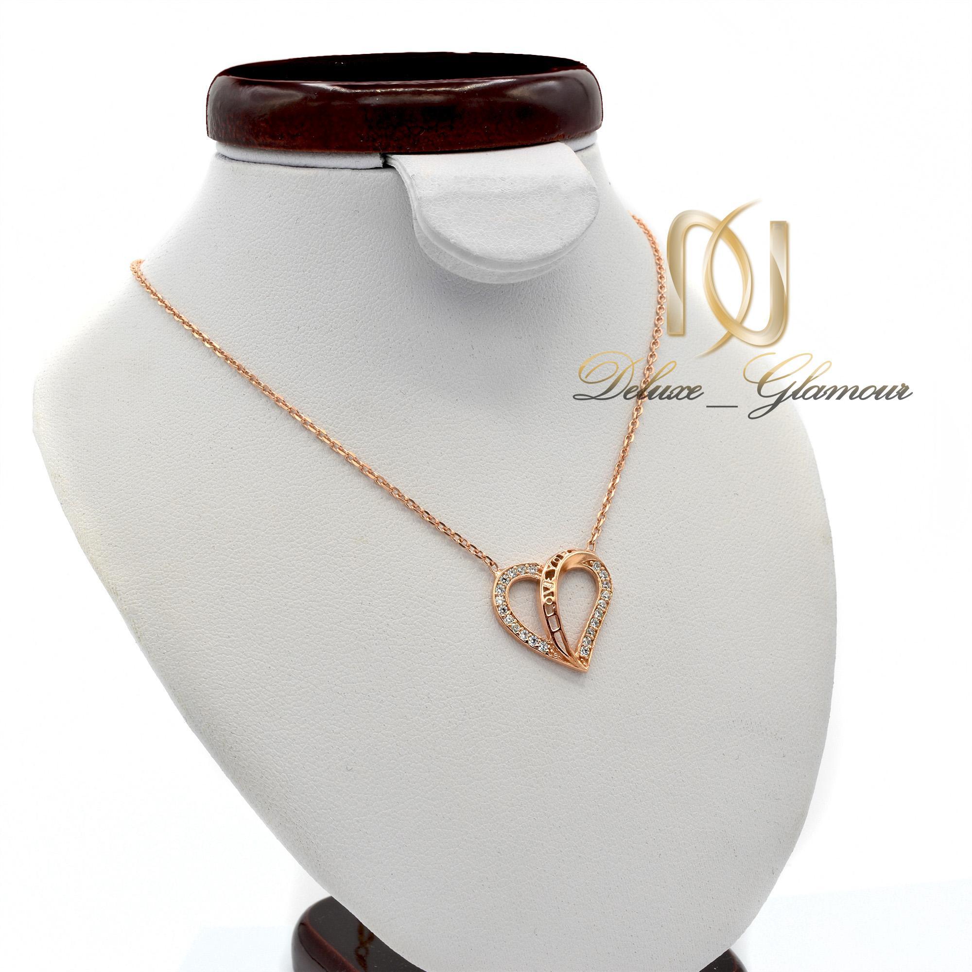 گردنبند نقره دخترانه رزگلد طرح قلب NW-N447 از نمای روبرو