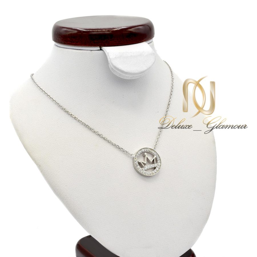 گردنبند نقره دخترانه طرح تاج NW-N448 از نمای روبرو