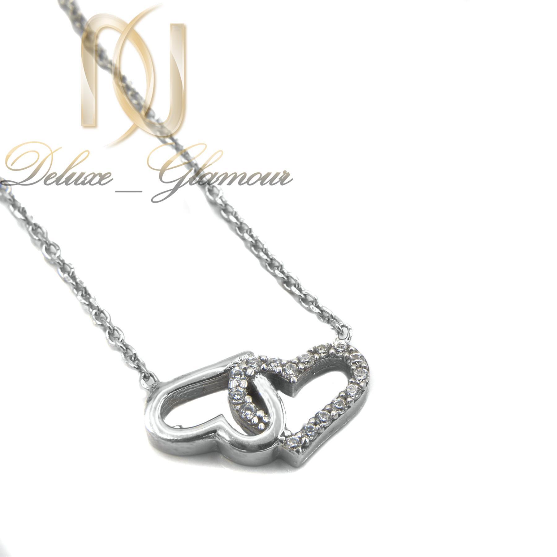 گردنبند نقره دخترانه طرح قلب ظریف nw-n456 از نمای سفید