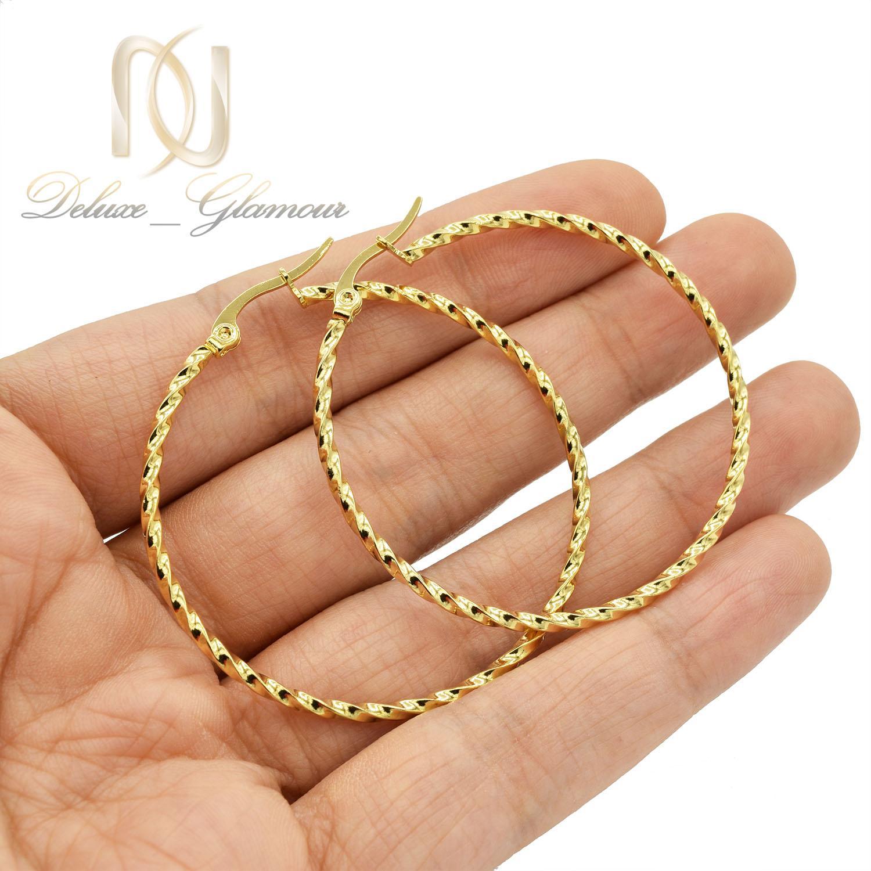 گوشواره حلقه ای بزرگ استیل طرح طلا er-n179 از نمای روی دست