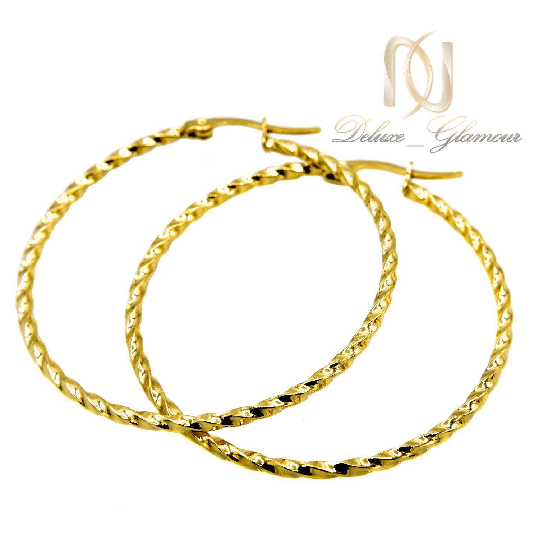 گوشواره حلقه ای بزرگ استیل طرح طلا er-n179 از نمای سفید