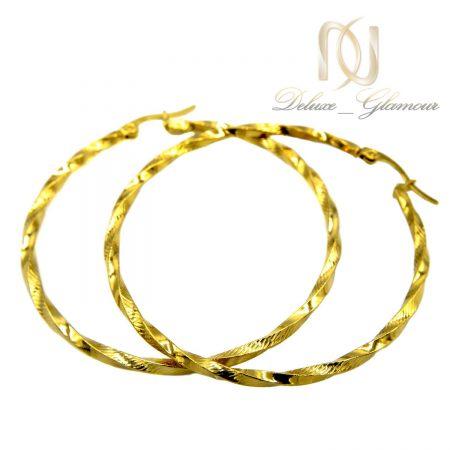 گوشواره حلقه ای بزرگ استیل طلایی er-n180 از نمای سفید