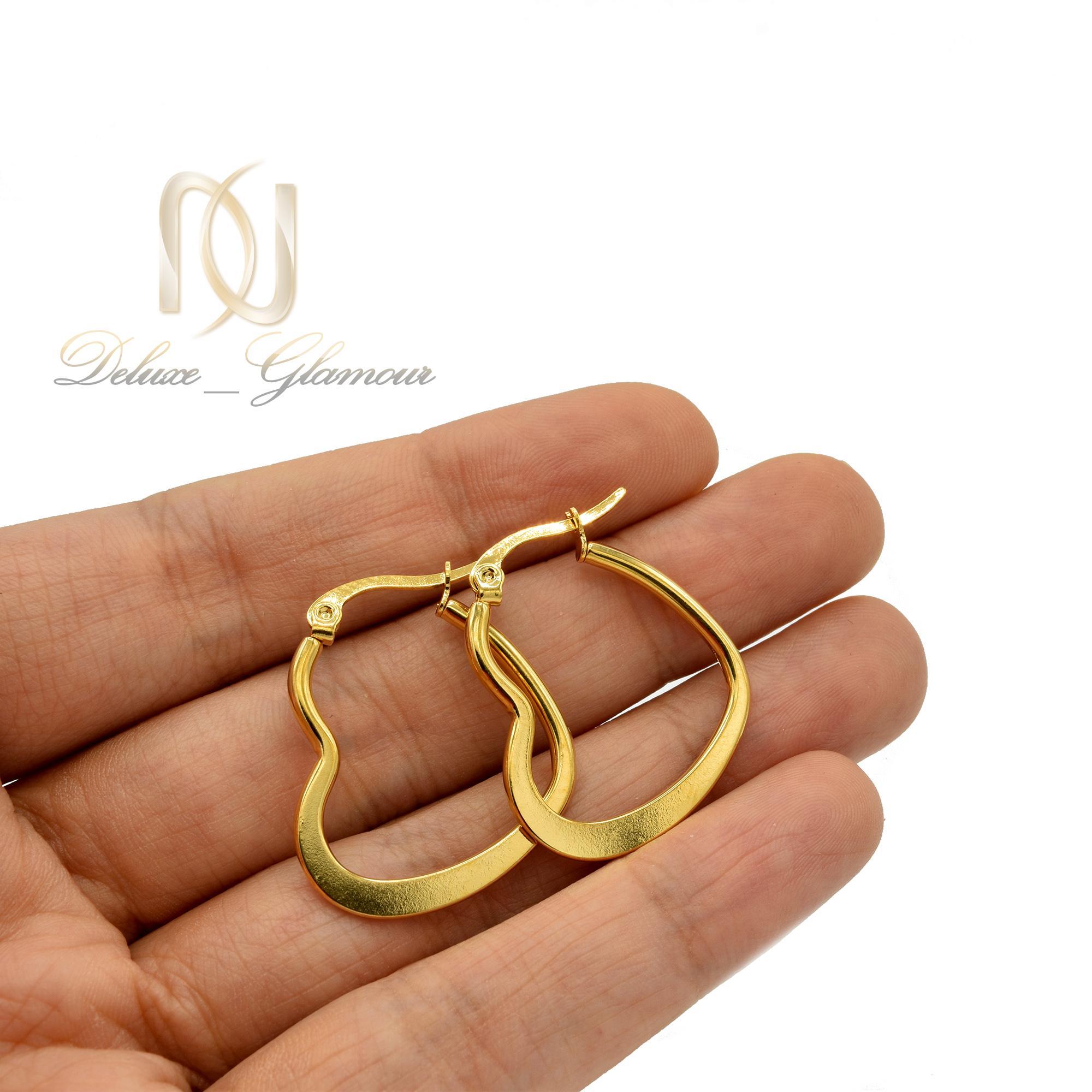 گوشواره حلقه ای زنانه طرح قلب er-n172 از نمای بالا