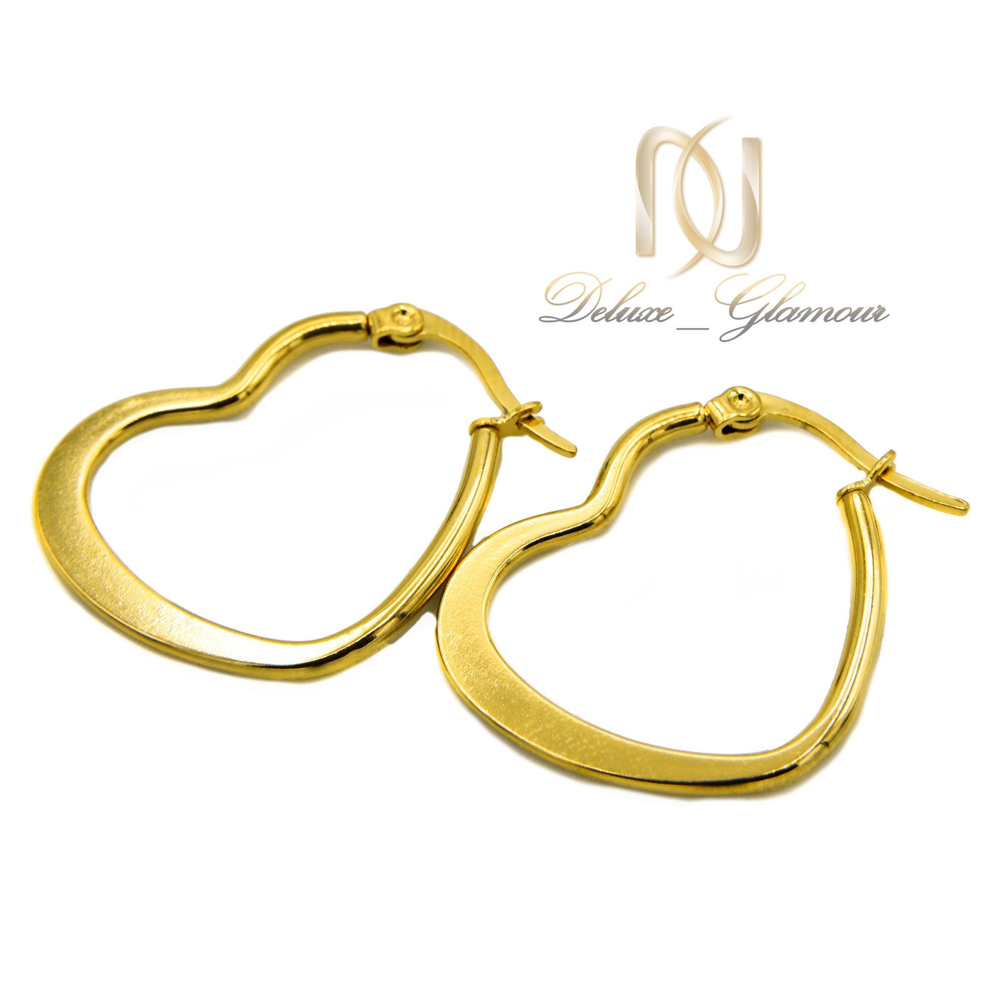گوشواره حلقه ای زنانه طرح قلب er-n172 از نمای سفید