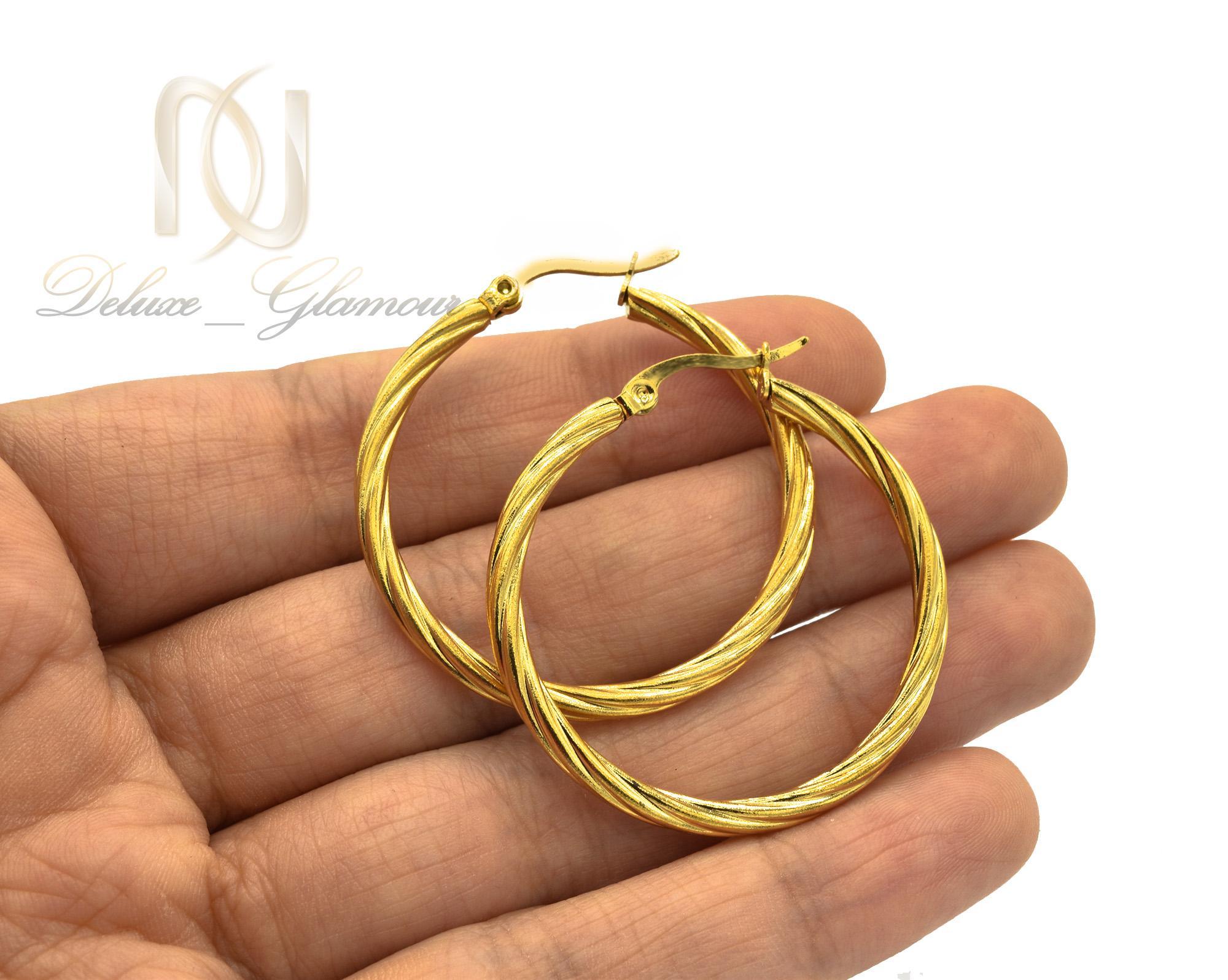 گوشواره زنانه حلقه ای استیل طلایی er-n176