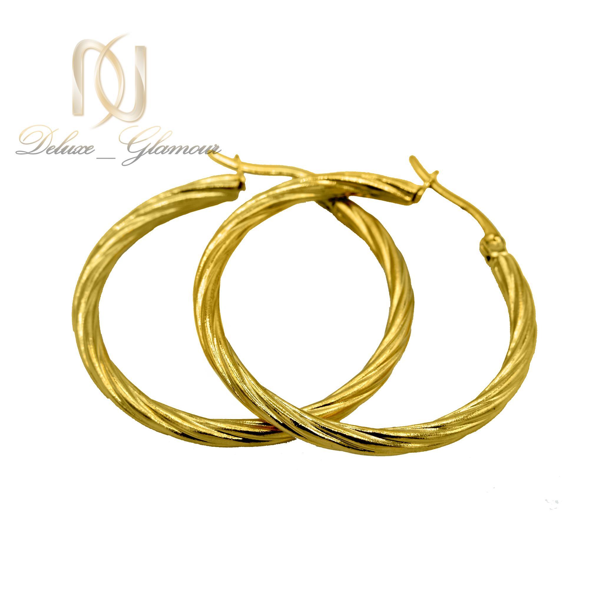 گوشواره زنانه حلقه ای استیل طلایی er-n176 از نمای سفید