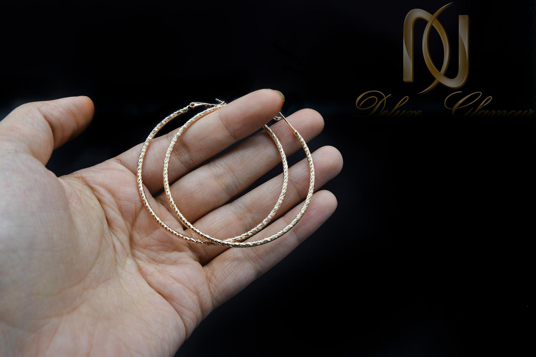 گوشواره زنانه ژوپینگ حلقه بزرگ er-n171 از نمای مشکی