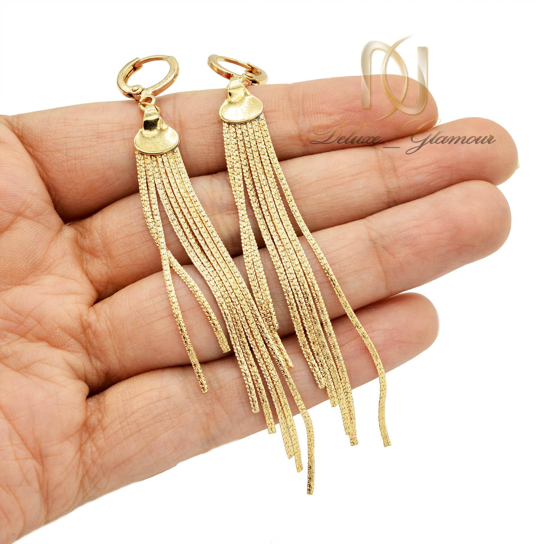 گوشواره زنانه ژوپینگ هفت رشته ای طلایی er-n181 از نمای روی دست