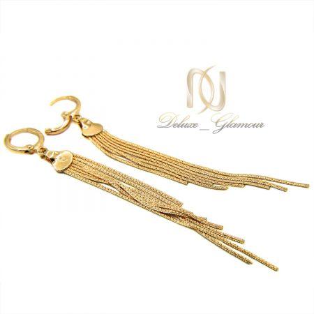 گوشواره زنانه ژوپینگ هفت رشته ای طلایی er-n181 از نمای سفید