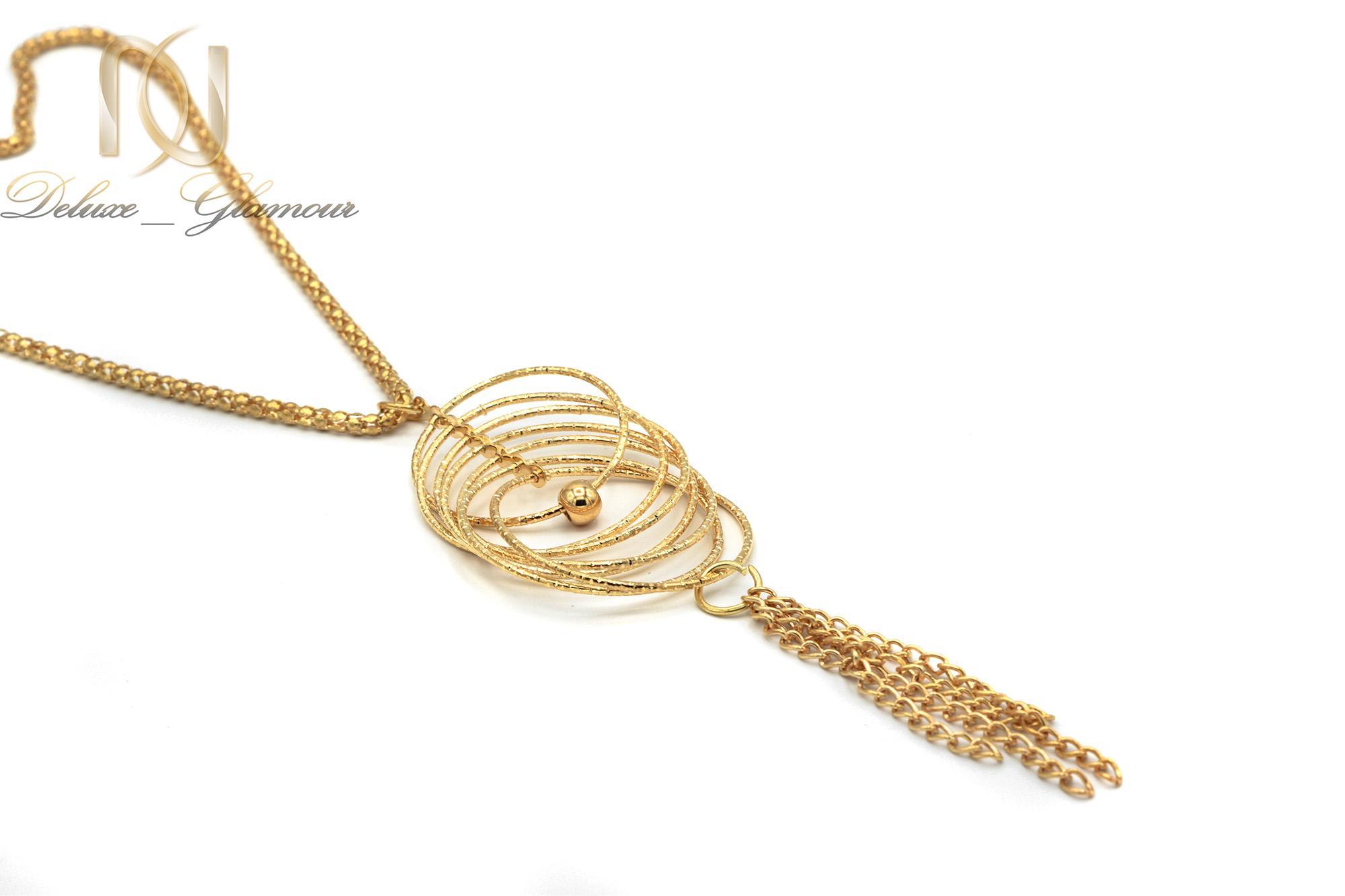 گردنبند رولباسی بلند طرح طلا nw-n442 از نماي سفيد