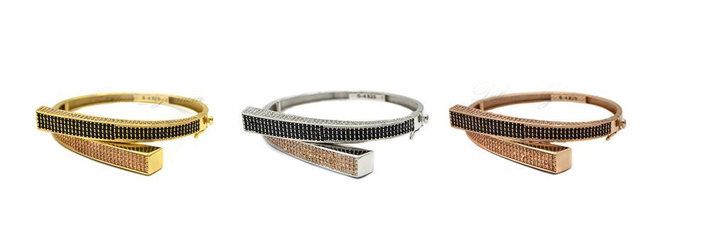 دستبند زنانه با روکش آب طلا و رودیوم - رنگ طلایی و نقره ای و رزگلد