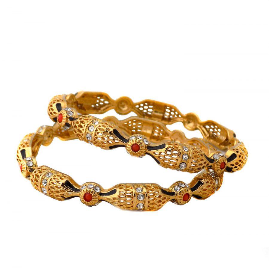 النگو زنانه هندی برنجی طرح طلا ds-n421 از نمای سفید