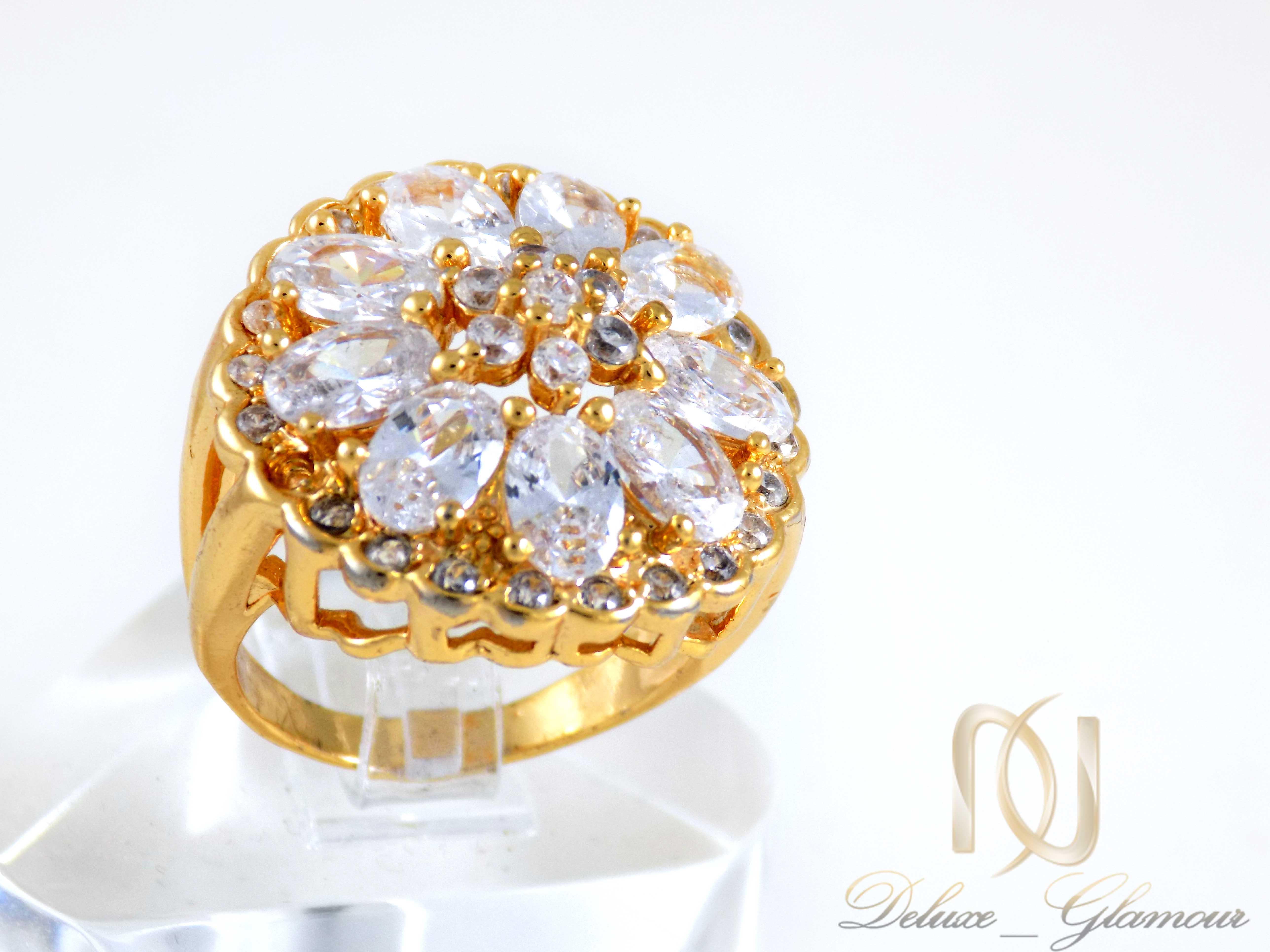 انگشتر زنانه استیل طلایی پرنگین rg-n312 از نمای روبرو